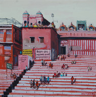 Banaras by Anand M Bekwad, Impressionism Painting, Acrylic on Canvas, Brown color