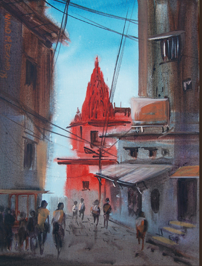 Banaras Bangali toala by Anand M Bekwad, Impressionism Painting, Acrylic on Canvas, Gray color