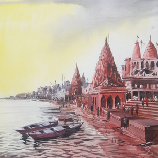 Banaras by Anand M Bekwad, Impressionism Painting, Watercolor on Paper, Brown color