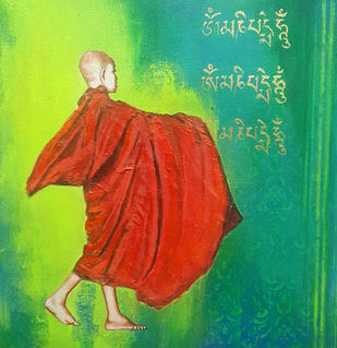 MONK-1 by Meetul Agarwal, Expressionism Painting, Acrylic on Canvas, Green color