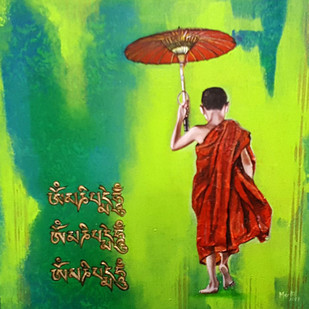 MONK-2 by Meetul Agarwal, Expressionism Painting, Acrylic on Canvas, Green color