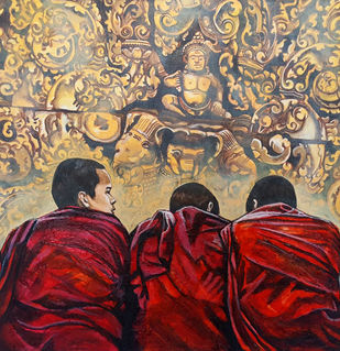 Monks by Meetul Agarwal, Expressionism Painting, Acrylic on Canvas, Brown color