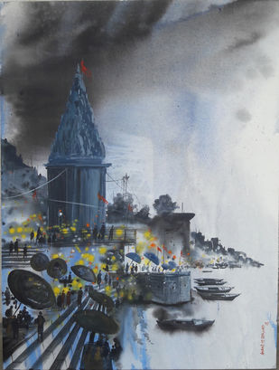 Banaras by Anand M Bekwad, Impressionism Painting, Acrylic on Canvas, Gray color