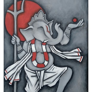 GANESHA 1 by Balbir Singh, Expressionism Painting, Acrylic on Canvas, Green color