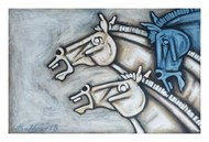 HORSES by Balbir Singh, Expressionism Painting, Acrylic on Canvas, Gray color