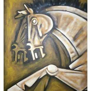 HORSE 1 by Balbir Singh, Expressionism Painting, Acrylic on Canvas, Beige color