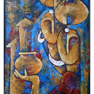 UNTITLED by Balbir Singh, Expressionism Painting, Acrylic on Board, Brown color