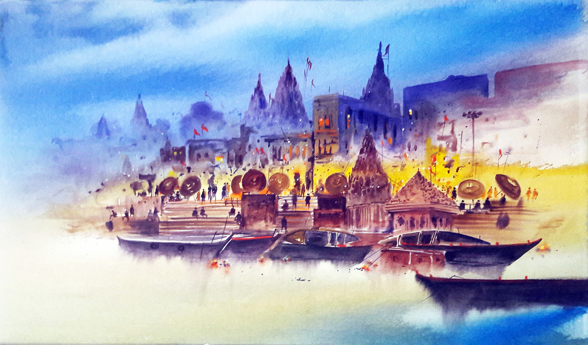 Banaras morning lights by Anand M Bekwad, Impressionism Painting, Acrylic on Canvas, Cyan color