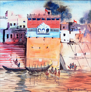 Banaras by Anand M Bekwad, Impressionism Painting, Acrylic on Canvas, Pink color