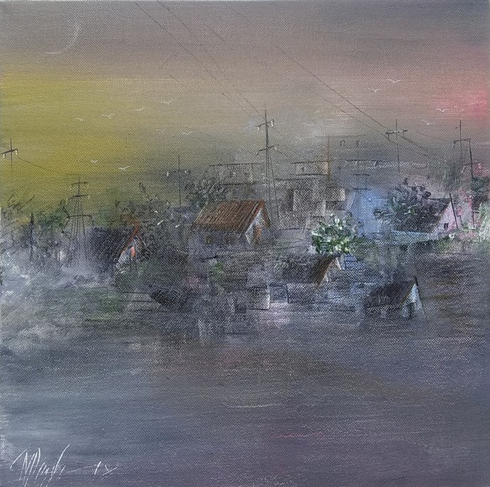 Village in Morning by M Singh, Abstract Painting, Acrylic on Canvas, Green color