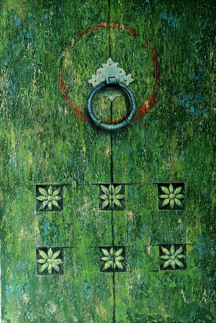 old door by Monica Ghule, Expressionism Painting, Acrylic on Canvas, Green color
