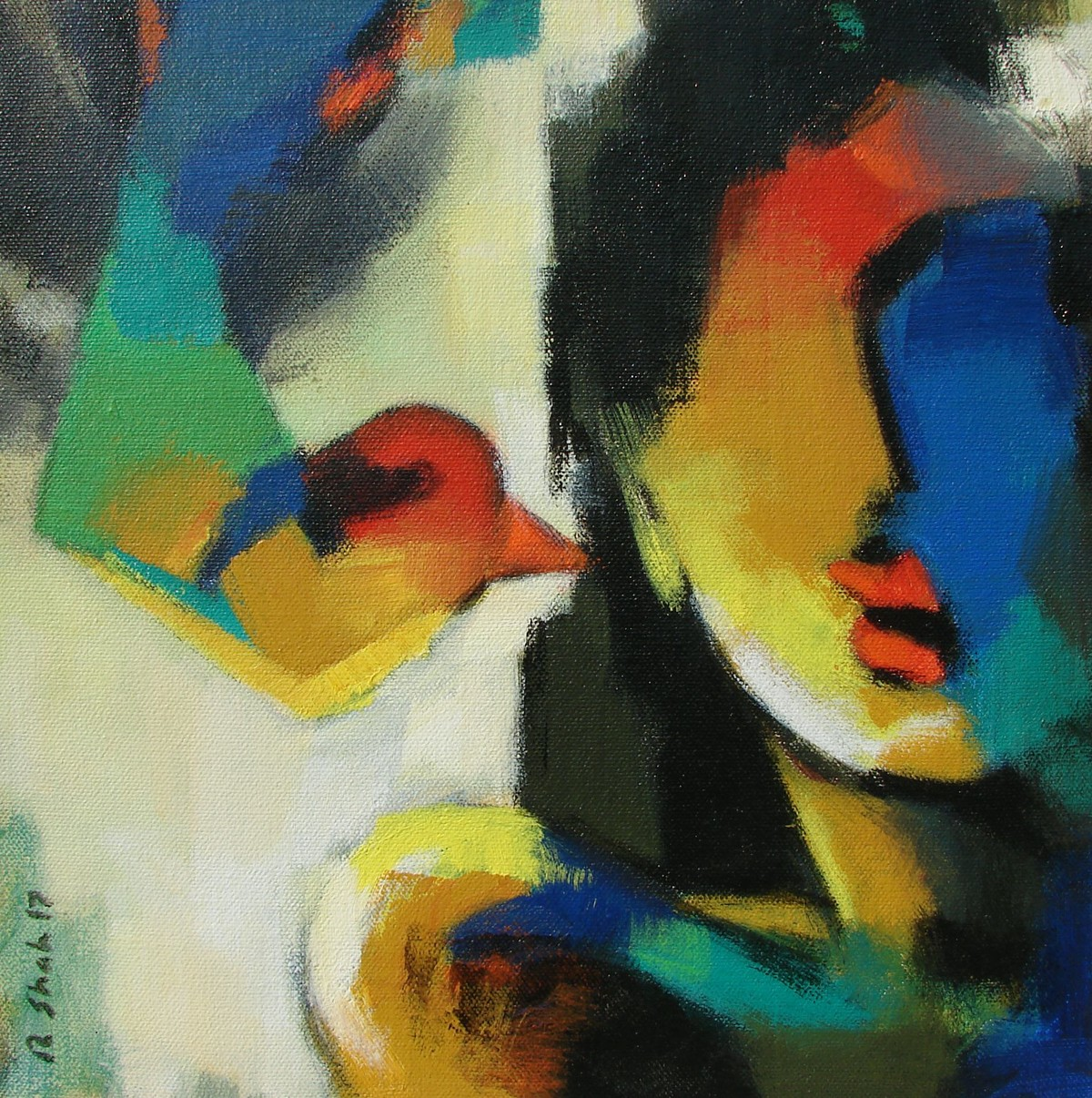 Face by Rajesh Shah, Expressionism Painting, Acrylic on Canvas, Green color