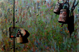 old door I by Monica Ghule, Expressionism Painting, Acrylic on Canvas, Green color