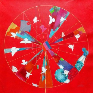 Memories of the childhood vii by shiv kumar soni, Expressionism Painting, Acrylic on Canvas, Red color