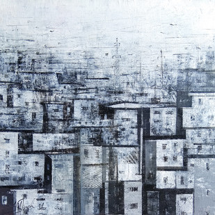 Old City by M Singh, Abstract Painting, Acrylic on Canvas, Cyan color