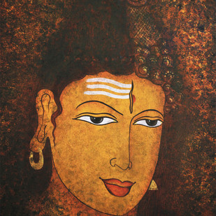 Ardhanarishwar by Henry Kanikai Raj, Traditional Painting, Canvas on Board, Brown color