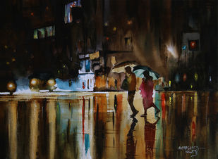 Back to parking by Mopasang Valath, Impressionism Painting, Watercolor on Paper, Brown color