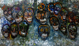 AMAZING WORLD OF GHOSTS by Anand Swaroop, Expressionism Painting, Oil on Canvas, Gray color