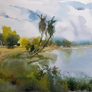 landscape 3 by Amit kumar Datta, Impressionism Painting, Watercolor on Paper, Green color
