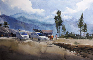 landscape 8 by Amit kumar Datta, Impressionism Painting, Watercolor on Paper, Brown color