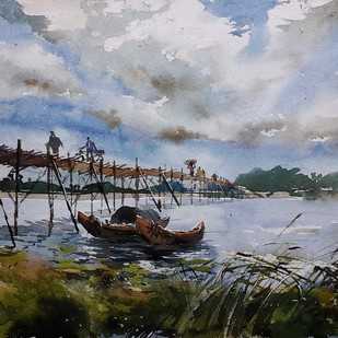 landscape 11 by Amit kumar Datta, Impressionism Painting, Watercolor on Paper, Gray color