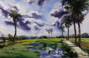 landscape 12 by Amit kumar Datta, Impressionism Painting, Watercolor on Paper, Gray color