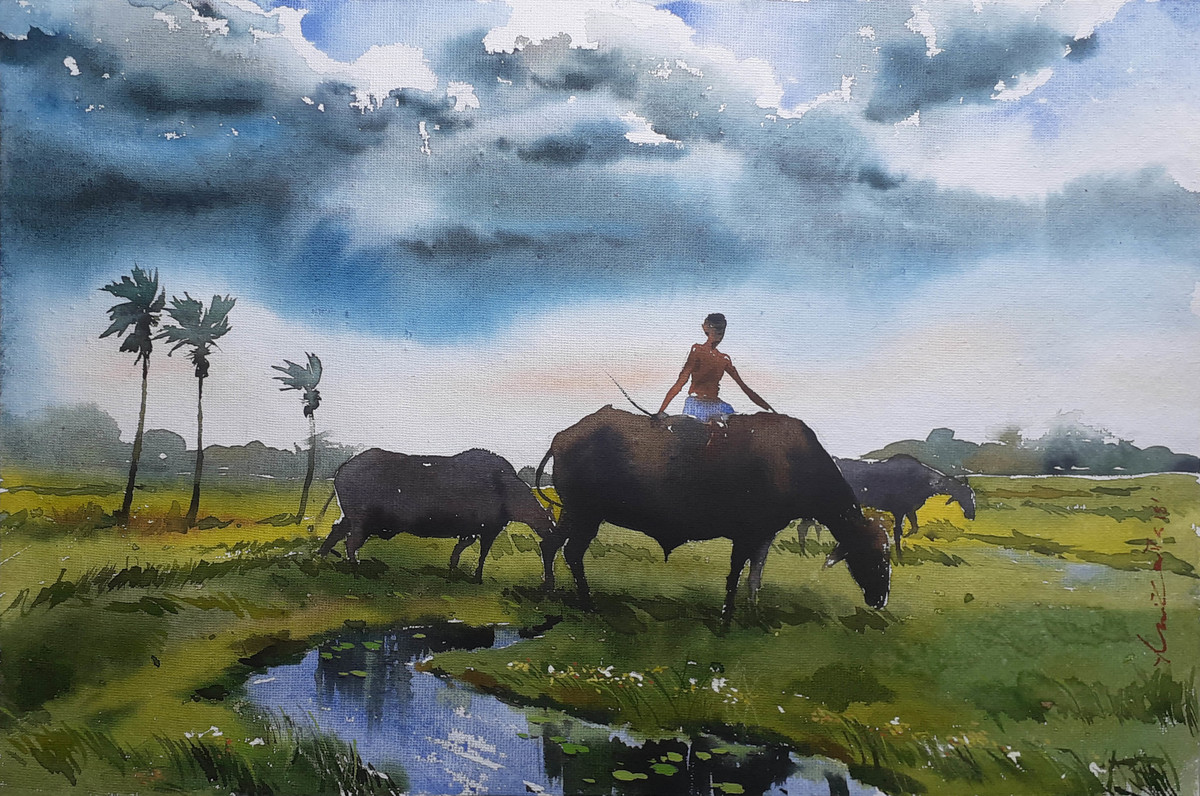 landscape 13 by Amit kumar Datta, Impressionism Painting, Watercolor on Paper, Gray color