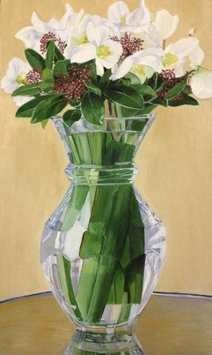 Flowers in a vase by Alia Sayed, Expressionism Painting, Oil on Paper, Beige color