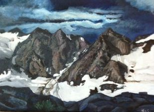 Mountains at dawn by Alia Sayed, Expressionism Painting, Oil on Canvas, Gray color