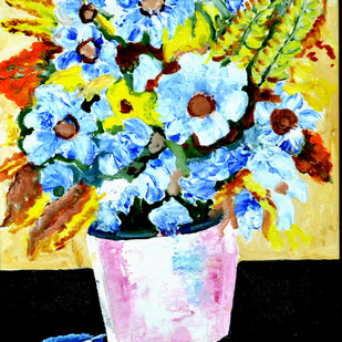STILL-LIFE-7 by Anand Swaroop, Expressionism Painting, Acrylic on Canvas, Green color