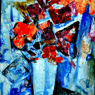STILL-LIFE-10 by Anand Swaroop, Expressionism Painting, Acrylic on Canvas, Blue color