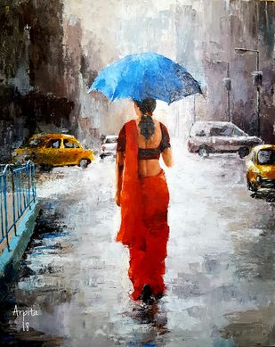 Rainy Afternoon by Arpita, Impressionism Painting, Acrylic on Canvas, Gray color