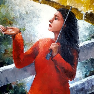Feel the rain by Arpita, Impressionism Painting, Acrylic on Canvas, Brown color