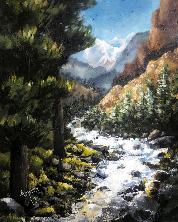Kinnaur Beauty by Arpita, Impressionism Painting, Acrylic on Canvas, Gray color