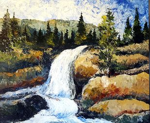Waterfall by Arpita, Impressionism Painting, Acrylic on Canvas, Brown color