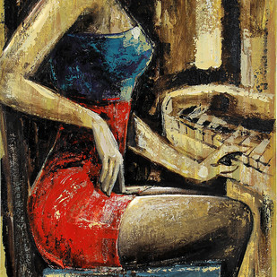 A Piano At Evening by gurdish pannu, Expressionism Painting, Acrylic on Canvas, Brown color