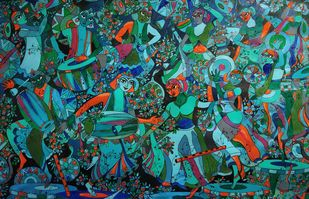 MUCISIANS by KAUSIK KARMAKAR, Expressionism Painting, Acrylic & Ink on Paper, Green color