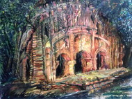 SEEDY TEMPLE by KAUSIK KARMAKAR, Expressionism Painting, Acrylic & Ink on Paper, Brown color