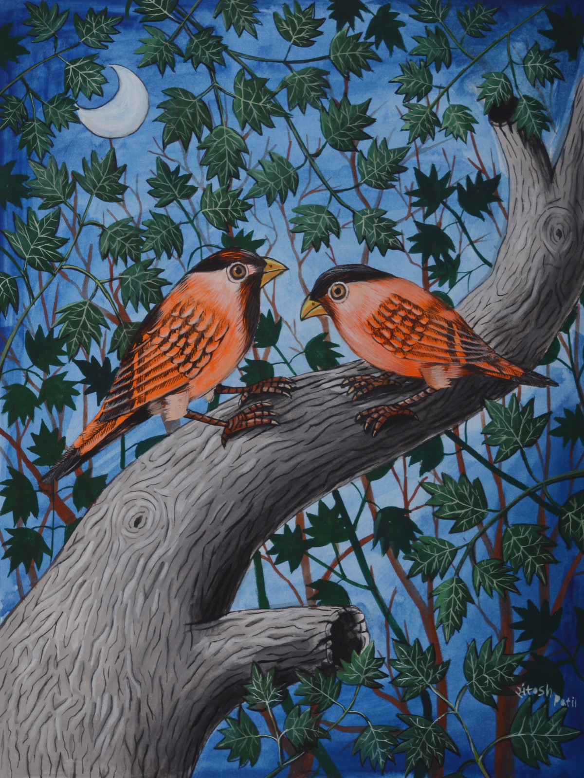 Birds Painting 37 by santosh patil, Decorative Painting, Watercolor on Paper, Green color