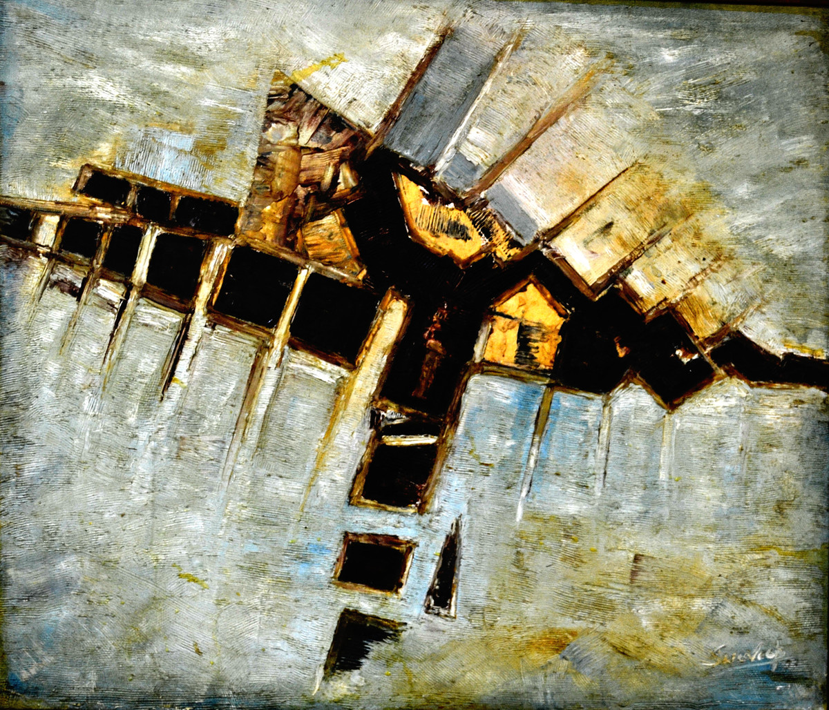 ABSTRACT-3 by Anand Swaroop, Abstract Painting, Oil on Canvas, Beige color