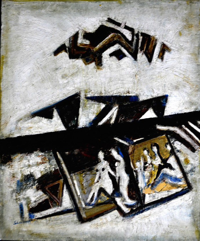 ABSTRACT-5 by Anand Swaroop, Abstract Painting, Oil on Canvas, Gray color