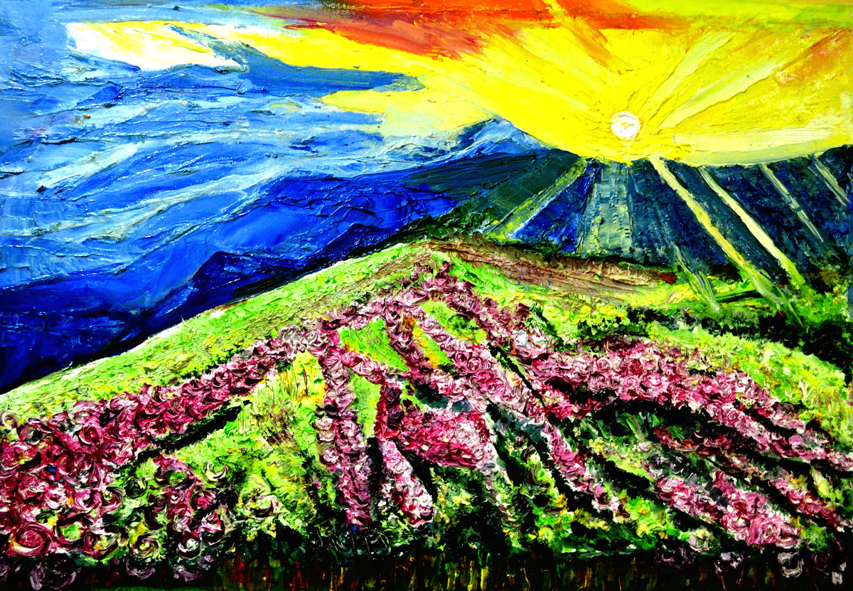 VALLY OF FLOWERS-2 by Anand Swaroop, Impressionism Painting, Oil on Canvas, Green color