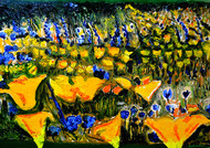 VALLY OF FLOWERS-3 by Anand Swaroop, Expressionism Painting, Oil on Canvas, Green color