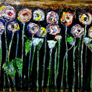 ABSTRACT ROSES by Anand Swaroop, Expressionism Painting, Mixed Media on Canvas, Green color