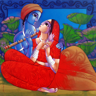 romantic couple by Sekhar Roy, Traditional Painting, Acrylic on Canvas, Blue color