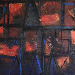 A Town named Nostalgia 4 by Pratap SJB Rana, Geometrical Painting, Acrylic on Canvas, Brown color