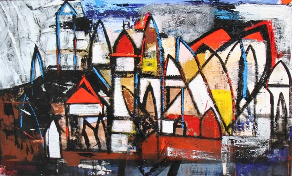 A Town named Nostalgia Ill by Pratap SJB Rana, Geometrical Painting, Acrylic on Canvas, Brown color
