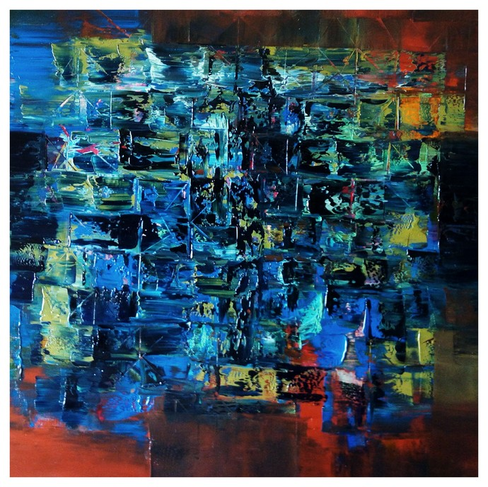 Untitled by Nivas Kanhere, Abstract Painting, Oil on Canvas, Blue color