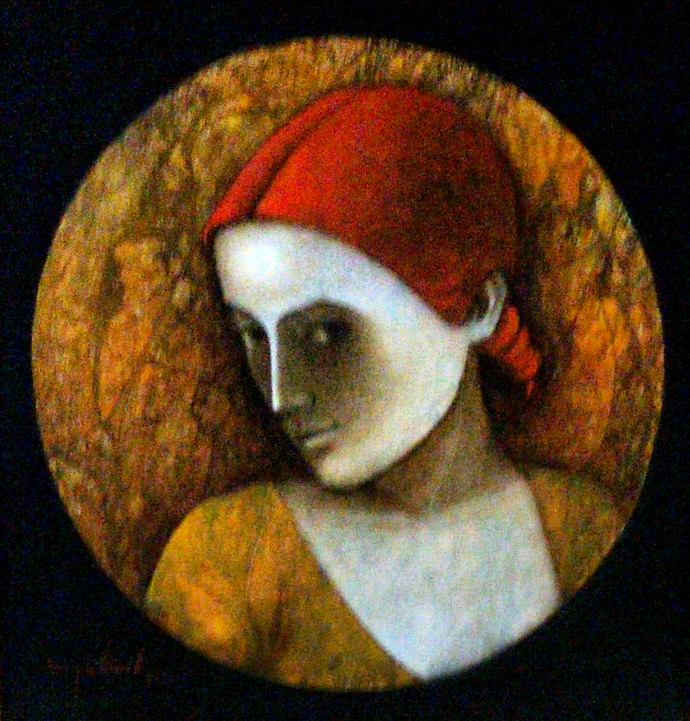 Red Girl by Asit Kumar Patnaik, Expressionism Painting, Oil on Canvas,