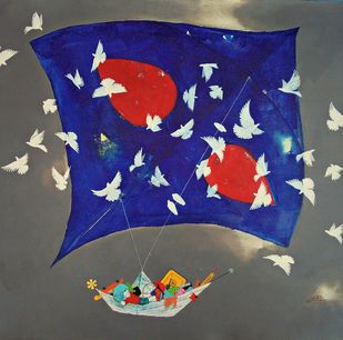 Childhood Passion by shiv kumar soni, Expressionism Painting, Acrylic on Canvas, Blue color